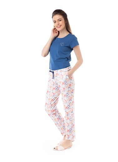 Pamuk & Pamuk Gül Desenli Kadın Pijama Takımı Renkli